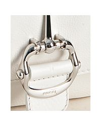 Gucci | White Leather Techno Horsebit Large Shoulder Bag | Lyst