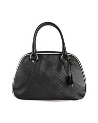 Prada | Black Perforated Saffiano Calf Bowler Bag | Lyst