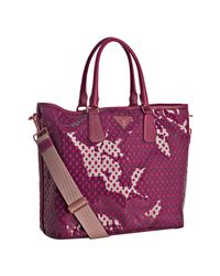 Prada | Purple Fuchsia Cut-out Pvc and Nylon Saffiano Detail Tote | Lyst