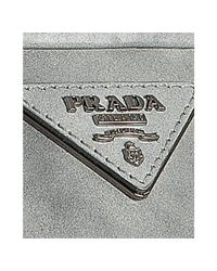 Prada | Gray Grey Faded Leather Crystal Kisslock Small Clutch | Lyst