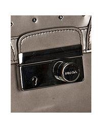 Prada - Gray Light Grey Studded Leather Mini Crossbody Bag - Lyst