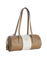 Prada | Natural Perforated Saffiano Stripe Barrel Bag | Lyst