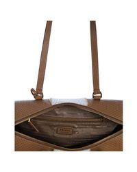 Prada - Natural Perforated Saffiano Stripe Barrel Bag - Lyst