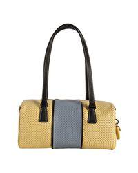 Prada - Yellow Perforated Saffiano Stripe Barrel Bag - Lyst