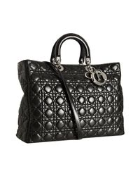 Dior - Black Quilted Lambskin Lady Tote - Lyst