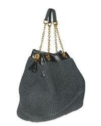 Dolce & Gabbana   Gray Buffalo and Ribbed Knit Tote   Lyst