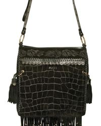 Emilio Pucci - Black Suede Croc Print Shoulder Bag - Lyst