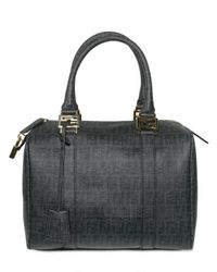 Fendi | Black Mini Zucca Jacquard Boston Top Handle | Lyst