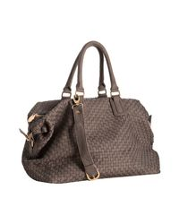 Deux Lux | Gray Clay Woven Faux Leather Luella Overnight Bag | Lyst