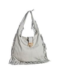 Jimmy Choo | White Embossed Leather Roxie Fringe Hobo | Lyst