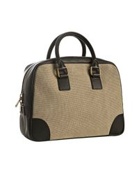 Céline - Natural Khaki Canvas Leather Detail Boston Bag - Lyst