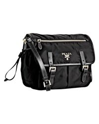 Prada | Black Nylon Messenger Bag | Lyst