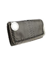 Stella McCartney | Black Shiny Dotted Chamois Falabella Wallet | Lyst