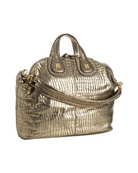 Givenchy | Metallic Gold Crocodile Embossed Leather Nightingale Medium Satchel | Lyst