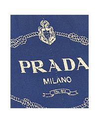 Prada - Blue Cobalt Rope Logo Canvas Medium Tote - Lyst