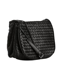 Bottega Veneta - Black Woven Nappa Cross Body Flap Bag - Lyst