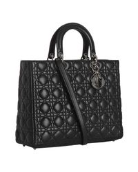 Dior | Black Lambskin Lady Cannage Large Bag | Lyst