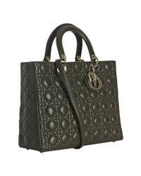 Dior | Dark Green Lambskin Cannage Lady Large Bag | Lyst