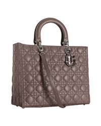 Dior | Gray Grey Lambskin Lady Cannage Large Bag | Lyst