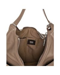 Fendi | Brown Taupe Sheepskin Zip Front Large Hobo | Lyst