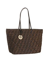Fendi | Brown Tobacco and Blue Quilted Zucca Roll Large Tote | Lyst