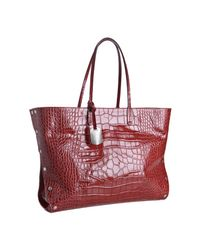 Furla | Red Cherry Croc Embossed Leather Chari Tote | Lyst