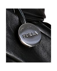 Furla - Black Onyx Leather Miriam Pleated Bow Detail Shoulder Bag - Lyst