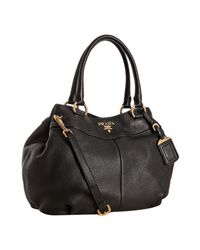 Prada | Black Pebbled Leather Medium Shoulder Bag | Lyst