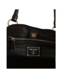 Prada - Black Pebbled Leather Medium Shoulder Bag - Lyst