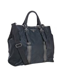 Prada | Dark Blue Nylon Leather Stripe Large Travel Tote | Lyst