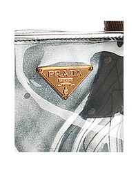 Prada - Gray Grey Clear Printed Pvc Tote - Lyst