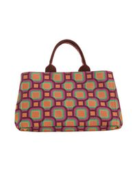 Prada - Purple Plum Canvas Small Geometric Pattern Tote - Lyst