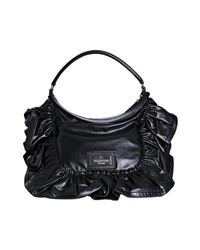 Valentino - Black Leather Ruffle Detail Shoulder Bag - Lyst