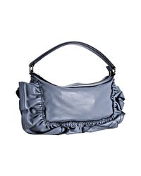 Valentino | Light Blue Leather Ruffle Detail Shoulder Bag | Lyst