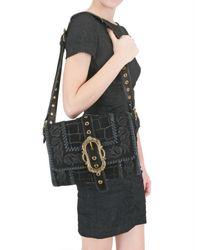 Emilio Pucci - Black Suede Croc Print Shoulder Bag - Lyst