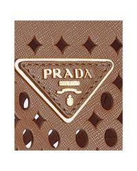 Prada - Brown Orange Cut-out Saffiano Shopping Tote - Lyst