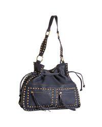 Sorial | Blue Velvet Leather Large Drawstring Hobo | Lyst