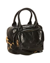Prada | Black Vitello Shine Leather Bauletto Small Zip Satchel | Lyst