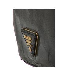 Prada - Black Vitello Shine Leather Frame Top Shopping Tote - Lyst