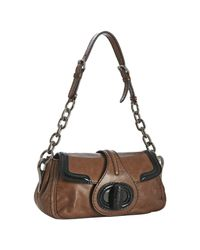 Prada - Brown Rosewood Vitello Shine Leather Chain Shoulder Bag - Lyst