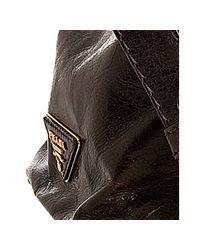 Prada   Dark Brown Vitello Shine Leather Large Frame Satchel   Lyst