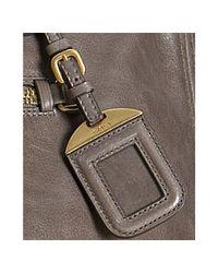 Prada - Brown Argilla Vitello Shine Leather Bauletto Satchel - Lyst