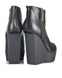 Acne Studios | Black Hybria Leather Wedge Boots | Lyst
