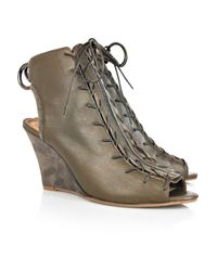 Acne | Green Fusion Leather Peep-toe Boots | Lyst