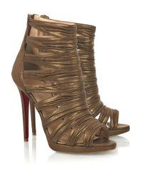 Christian Louboutin | Metallic Tinazata 120 Cutout Boots | Lyst