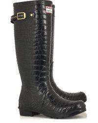 Jimmy Choo | Black Crocodile-print Wellington Boots | Lyst