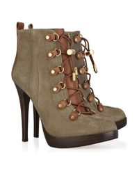 Tory Burch - Green Halima Suede and Leather Ankle Boots - Lyst