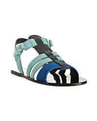 Balenciaga | Blue Flat Sandals | Lyst