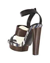 Balenciaga | Brown Coffee Leather Ankle Wrap Platform Sandals | Lyst