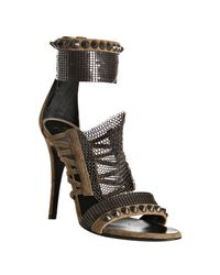 Balmain | Natural Khaki Suede Chainmail Sandals | Lyst